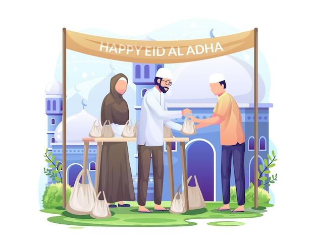 행복한 사람들은 eid al adha mubarak 그림에 희생 고기를 배포합니다.