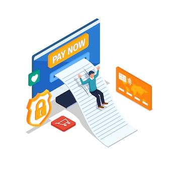 幸せな人々はオンライン決済を行います。コンピューター、クレジットカードを持つ男性。安全なオンライン決済イラストのコンセプト。