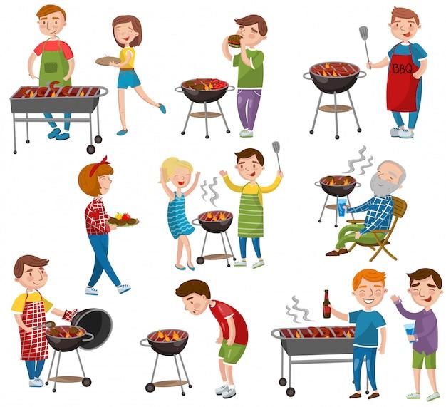 휴일 만화 일러스트에서 구운 고기, 바베큐 파티를 먹고 요리하는 행복한 사람들