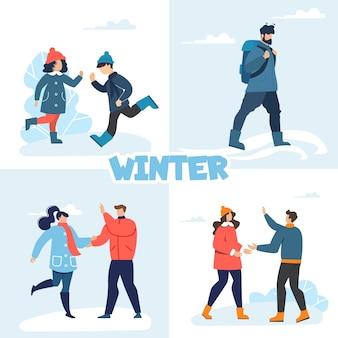 Happy people enjoy winter fun recreation flat set