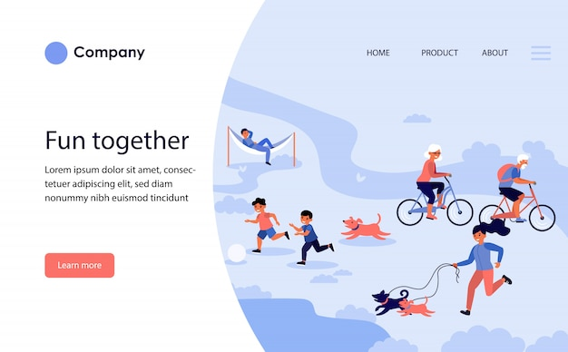 Happy people enjoying outdoor activities. website template or landing page