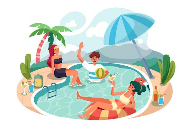 수영장 파티를 즐기는 행복한 사람들