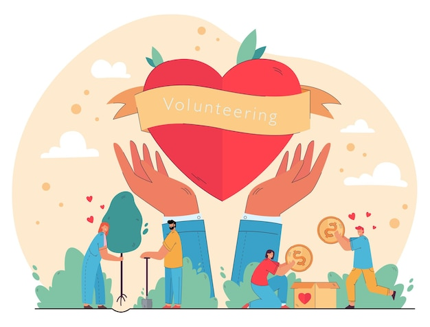 Happy people enjoying volunteering and giving help, packing cash into donation box, planting trees at heart in hands symbol.  illustration for charity, nature care, humanitarian aid concept