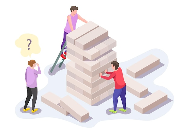Happy people family characters, friends playing jenga board game on the floor, flat vector isometric illustration. home leisure activities.