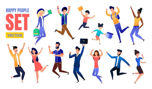 Happy people flat multinational characters set