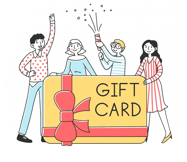 Happy people getting money gift card   illustration