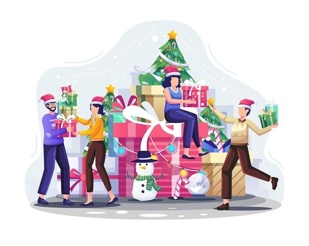 행복한 사람들은 크리스마스와 새해 삽화를 축하하기 위해 서로에게 크리스마스 선물을 줍니다.