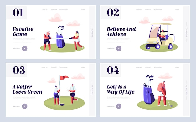 Happy people on golf field website landing page set