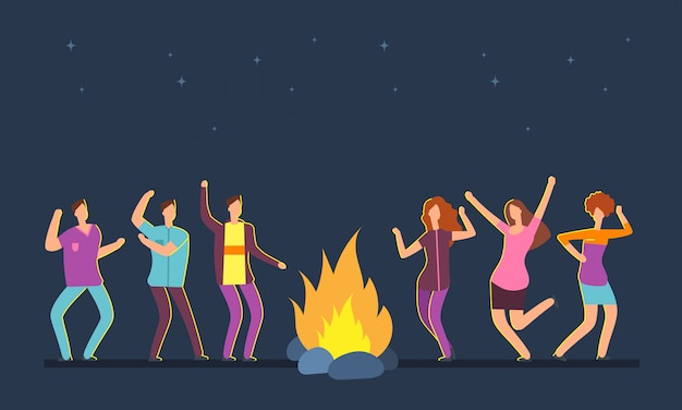 Happy people group dancing at campfire. music festival camping vector cartoon concept