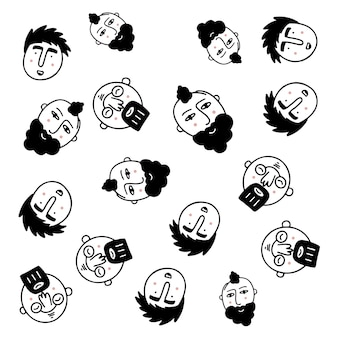Happy people - hand drawn seamless pattern of a crowd of many different people from diverse cultural backgrounds who are smiling and happy there's an image