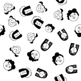幸せな人々-笑顔で幸せな多様な文化的背景を持つ多くの異なる人々の群衆の手描きのシームレスなパターン画像があります