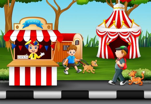 Happy people having fun in an amusement park