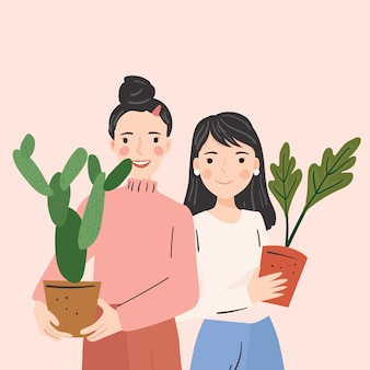 Happy people hold pots with plants. vector illustration.