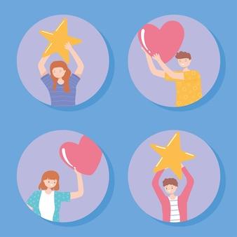 大きな星とハート、評価とフィードバックの概念図を保持している幸せな人々