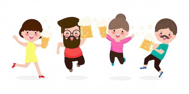 Happy people holding mug of beer, group man and woman character jumping and dancing. happy international beer day concept isolated on white background. friday party  illustration in flat