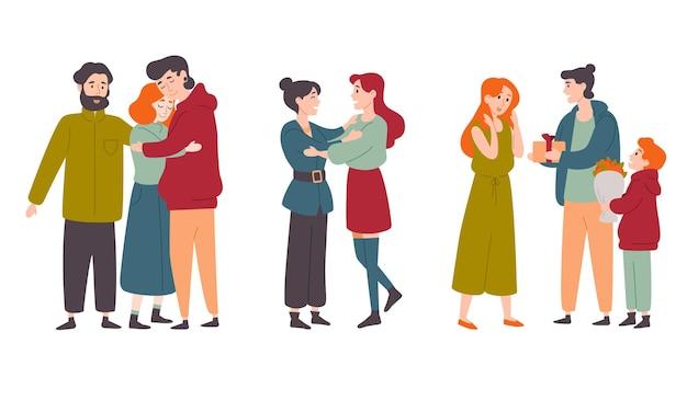Счастливые люди обнимаются, поздравляют друг друга с праздником. семьи, друзья