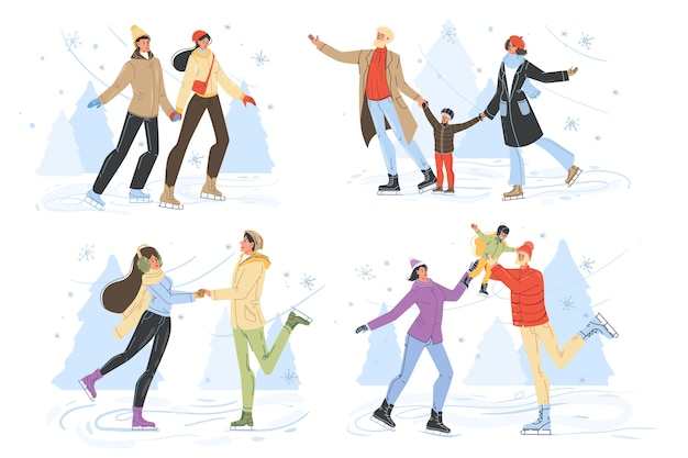 Счастливые люди катаются на коньках на катке.