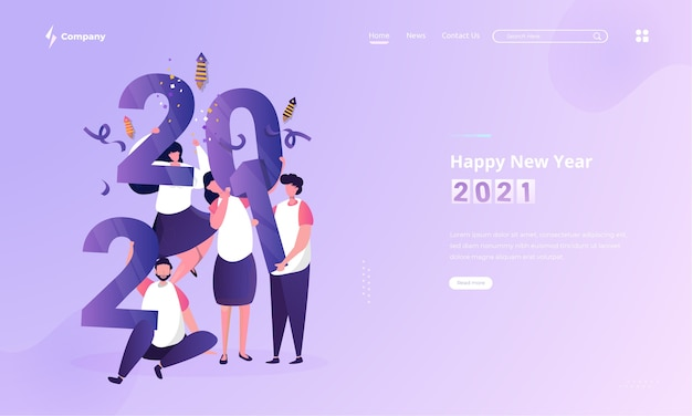 Happy people illustration to celebrate new year on landing page concept