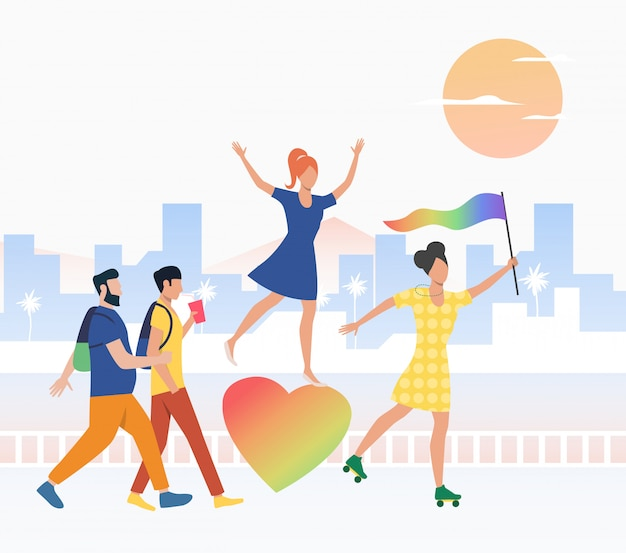 Счастливые люди в параде гордости
