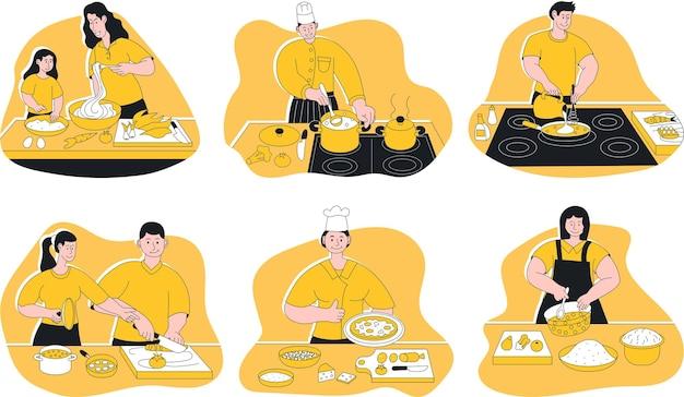 Счастливые люди в форме приготовления обеда на домашней кухне. пара, мать и дочь, шеф-повар и горничная готовят закуску, стоя на настольной сцене векторные иллюстрации, изолированные на белом фоне