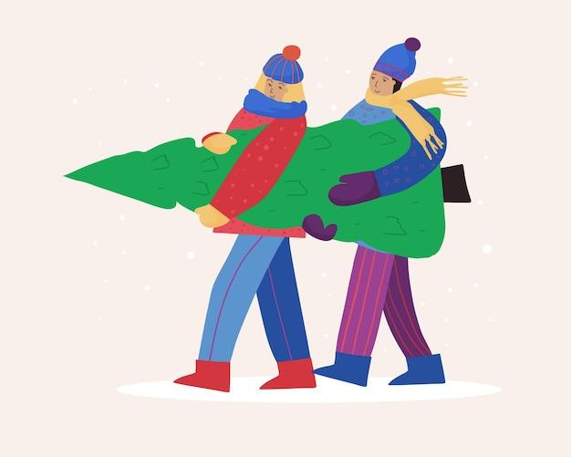 冬の服を着た幸せな人々は新年のツリーを運んでいます