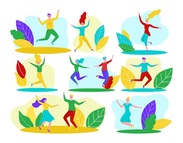 Happy people isolated on white set vector illustration young man woman person character jump cheerfu...