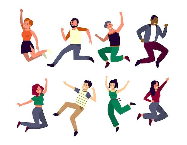 행복한 사람들이 공중에 뛰어 듭니다. 행복과 축하의 아이디어. 여자와 남자의 에너지가 가득한 미소로 점프합니다.