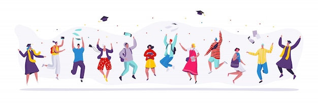 Happy people jumping graduation students, cartoon characters illustration