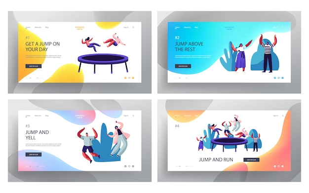 Happy people jumping on trampoline website landing page set