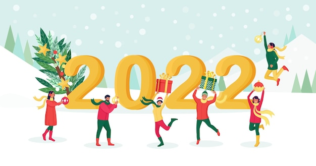 Happy people jumping with gift boxes, decoration balls, baubles with numbers 2022 on background. friends wish merry christmas and happy new year. holiday greeting. cheerful people celebrating xmas