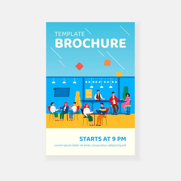 Happy people meeting in pub or bar for dinner, drinking and eating brochure template