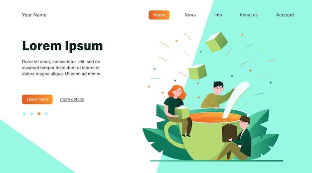 Счастливые люди, смешивая сахар в большой чашке чая. ложка, офис, обед плоский векторные иллюстрации. горячие напитки и концепция кофе-брейка, дизайн веб-сайта или целевая веб-страница