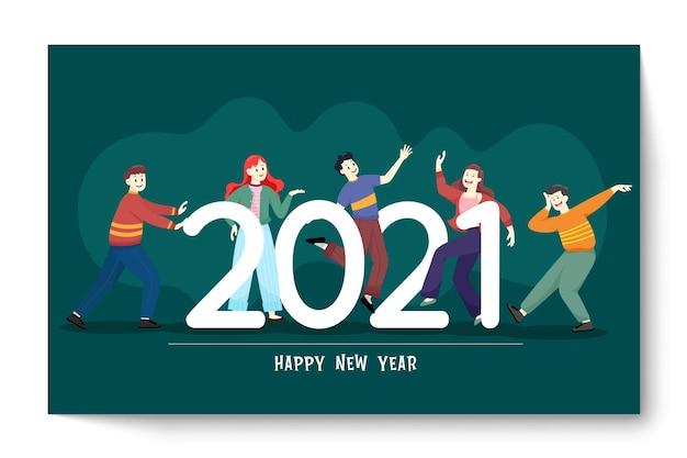 Persone felici o impiegati, i dipendenti sono grandi numeri nel 2021. un gruppo di amici o una squadra augura buon natale e felice anno nuovo
