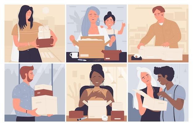 幸せな人々は段ボールの小包ボックスベクトルイラストセットを開きます。配達ボックスパッケージを保持している漫画面白い女性男性キャラクター