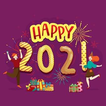 Счастливые люди или офисные работники, сотрудники держат большие цифры 2021 года. группа друзей или команда желают счастливого рождества и счастливого нового года.