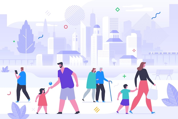 Happy people outdoors flat vector illustration. smiling men, women and little kids cartoon characters. parents with children, elderly couple on walk in park. fresh air stroll, family pastime