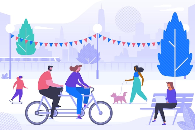 Happy people in park flat vector illustration. smiling adults and kid cartoon characters. outdoor activities. teen boy riding skateboard, couple on tandem. woman walking dog, girl working with laptop