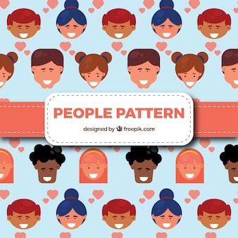 Happy people pattern with flat design