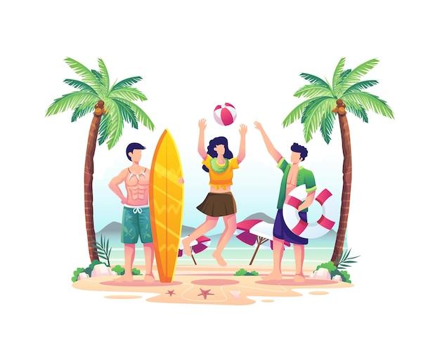 여름날 그림에서 해변에서 노는 행복한 사람들