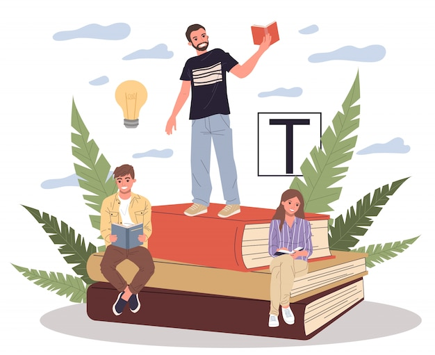 Happy people reading books