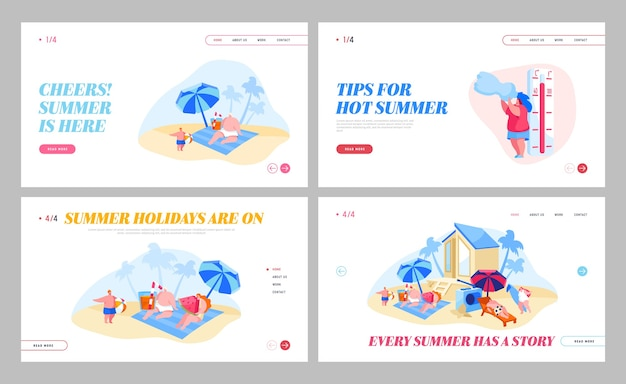 Happy people relaxing on beach landing page set