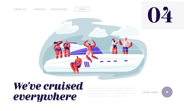 Happy people relaxing on luxury yacht jumping to sea. website landing page template