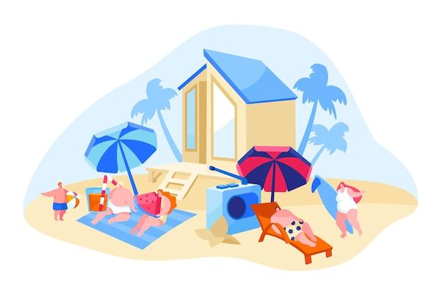Счастливые люди отдыхают на пляже иллюстрации Premium векторы