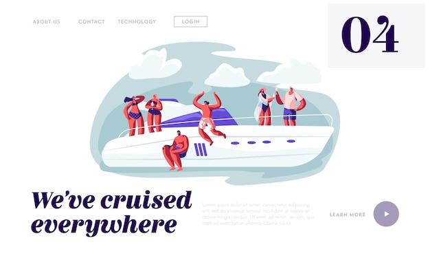 바다로 점프하는 럭셔리 요트에 편안한 행복 한 사람들. 웹 사이트 방문 페이지 템플릿