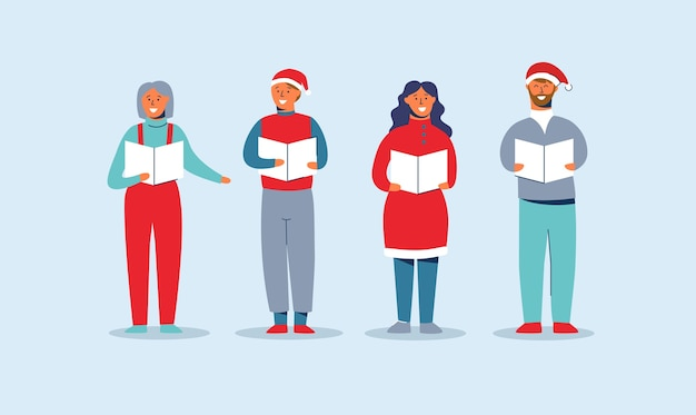 Happy people in santa hats singing christmas carols. winter holidays characters. xmas singers caroling choir man and woman.