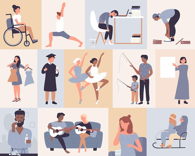 Happy people set, man woman dance, try on sneakers or dress, overwork or do hobby yoga