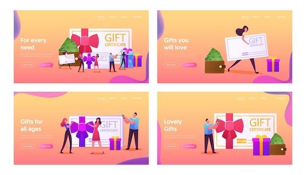 Набор шаблонов целевой страницы покупок счастливых людей. персонажи, покупающие вещи и подарки на праздники, используя подарочный сертификат или купон на скидку, потребительство, подарок. мультфильм люди векторные иллюстрации