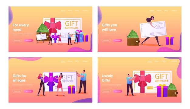 Happy people shopping landing page template set. characters buying things and presents for holidays using gift certificate or discount coupon, consumerism, present. cartoon people vector illustration