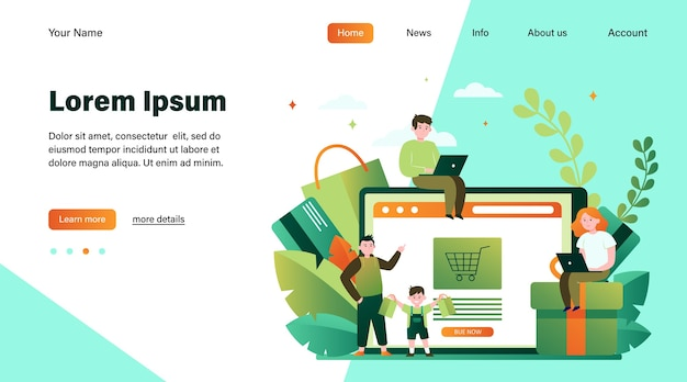 幸せな人がオンラインショッピング。バスケット、タブレット、顧客フラットベクトルイラスト。 eコマースおよびデジタル技術の概念のウェブサイトのデザインまたはランディングwebページ
