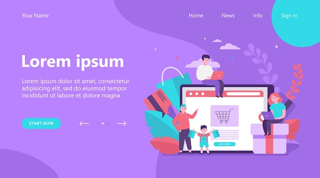 Happy people shopping online. basket, tablet, customer flat vector illustration. e-commerce and digital technology concept landing page